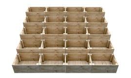 Casse di legno impilate Immagini Stock