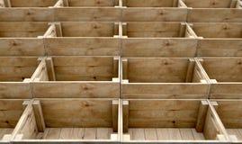 Casse di legno impilate Fotografie Stock