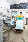 Casse di With Stacked Honeycomb dell'apicoltore in carrello Fotografia Stock Libera da Diritti