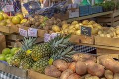 Casse riempite di linea coltivata sul posto dei prodotti freschi gli scaffali del mercato degli agricoltori della comunità fotografia stock libera da diritti