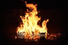 Casse su fuoco Immagini Stock Libere da Diritti