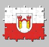 Casse-tête de drapeau d'Offenburg Il est dans Baden-Wurttemberg, Allemagne illustration stock