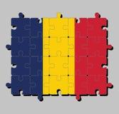 Casse-tête de drapeau du Tchad dans la verticale tricolore du bleu, de l'or, et du rouge illustration de vecteur