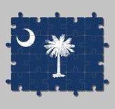 Casse-tête de drapeau de la Caroline du Sud dans l'arbre blanc de palmetto sur un champ d'indigo illustration libre de droits