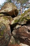Sandstone rock in Fontainebleau forest. Cassepot rock in Fontainebleau forest Stock Photography