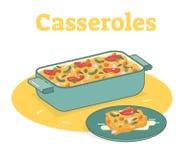 Casserole επίπεδη διανυσματική απεικόνιση τροφίμων Στοκ Εικόνες