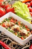 Casserole με τα κεφτή και τα λαχανικά ρυζιού Στοκ Φωτογραφίες