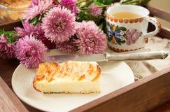 Casserole τυριών εξοχικών σπιτιών με τα μήλα Αγροτικό ύφος, εκλεκτική εστίαση Στοκ Φωτογραφία