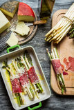 Casserole with asparagus and cheese stock photography