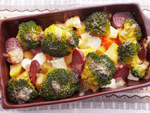 Casserole Brocolli και πατατών Στοκ Φωτογραφία