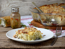 Casserole with cabbage or gratin. Under a cheese crust stock photography
