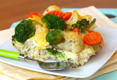 Casserole of  cauliflower, broccoli and carrots Royalty Free Stock Image