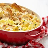 Casserole with cauliflower, leek, bread and cheese Stock Photography