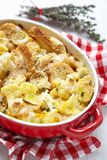 Casserole with cauliflower, leek, bread and cheese Royalty Free Stock Photo