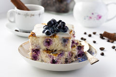 Casserole of cheese and couscous with blueberries. Breakfast Casserole of cheese and couscous with blueberries Royalty Free Stock Photos