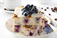 Casserole of cheese and couscous with blueberries. Breakfast Casserole of cheese and couscous with blueberries Royalty Free Stock Photo