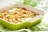 Casserole with cheese and zucchini in baking dish Royalty Free Stock Photo