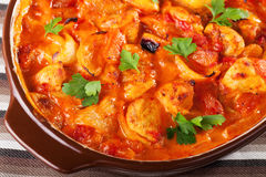Casserole with chicken, potatos and tomatos Stock Photography