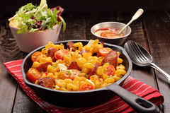 Casserole with chorizo sausage in a frying pan Royalty Free Stock Photo