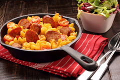Casserole with chorizo sausage in a frying pan Stock Photo