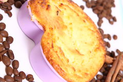 Casserole. Cottage cheese Baked Pudding in cake pan. form of heart Royalty Free Stock Photography