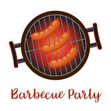 Casserole de barbecue avec des saucisses, illustration stock