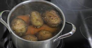 Casserole de ?bullition chaude avec des pommes de terre et des carottes de l?gumes Cuisson dans la cuisine photos libres de droits