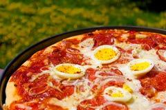Casserole de pizza de salami avec l'oeuf photo stock