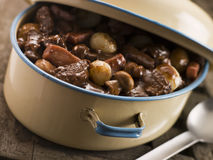 Casserole Dish With Beef Bourguignonne royalty free stock image