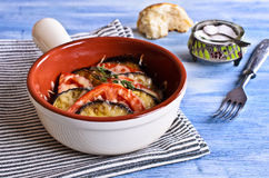 Casserole of eggplant and tomato with cheese Stock Image