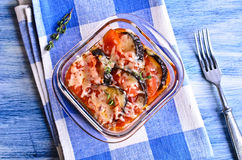 Casserole of eggplant and tomato with cheese Royalty Free Stock Image