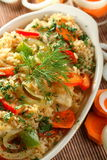 Casserole with fish. Delicious casserole with fish, rice and vegetables Stock Images