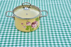 Casserole with floral pattern Royalty Free Stock Photography