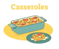 Casserole food flat vector illustration. With a pan and plate Stock Photo