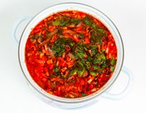 Casserole with fresh hot borsch Stock Photo