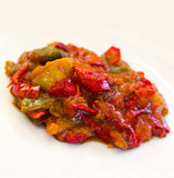 Casserole with grilled red bell pepper , close up Royalty Free Stock Photography