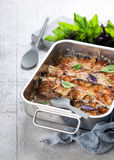 Casserole with meat, eggplant and cheese Stock Image