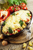 Casserole with meat, pasta, broccoli and tomatoes Stock Photos