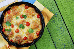 Casserole with meatballs and cheese Royalty Free Stock Images