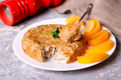 Casserole with millet and cheese. Close up, horizontal Stock Photo