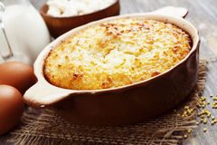 Casserole with millet and curd Stock Photo