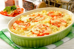 Casserole with minced meat, vegetables and cheese. Stock Photos