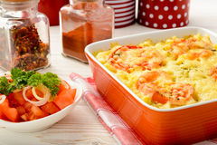 Casserole with minced meat, vegetables and cheese. Stock Image
