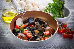 Casserole with mollusk Stock Photos