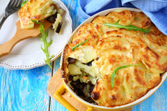 Casserole with mushrooms and potatoes Royalty Free Stock Photo