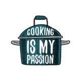 Casserole ou ustensiles, substance pour la décoration de menu emblème ou label de logo de cuisson, gravé tiré par la main dans le Photo stock