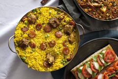 Casserole with paella Stock Image