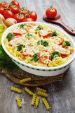 Casserole with pasta, broccoli and tomatoes Stock Image