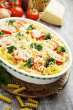 Casserole with pasta, broccoli and tomatoes Royalty Free Stock Images