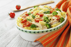 Casserole pasta with chicken and broccoli Royalty Free Stock Photography